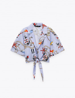 Cropped printed shirt with...