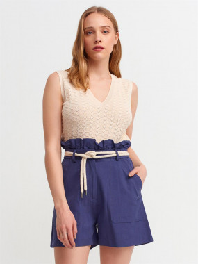 Short blue skirt with...